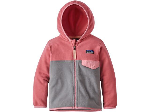 Patagonia Micro D Snap-T Chaqueta Niños, feather grey with sticker pink